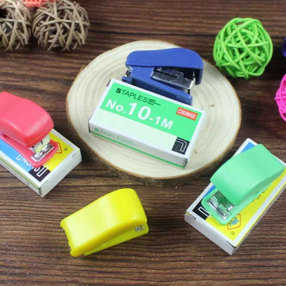 Peerless Kawaii Plastic Mini Stapler Set Stapler Paper Office Accessories Mini Corchetera Binder Stationary With 50pcs Staples