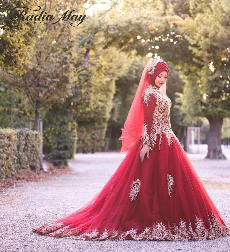 2019 Dubai Arabic Wedding Dresses Lace Appliques Off: Saudi Arabic Red Long Sleeves Muslim Wedding Dress Ball