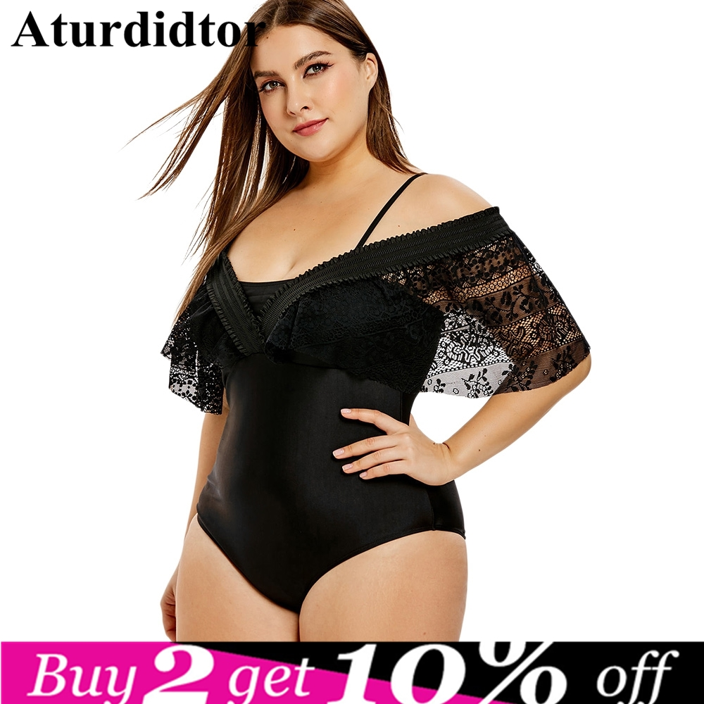 Lace Insert 4XL Plus Size Convertible One-piece Swimwear Push Up Solid Beach Style Skinny Large Bodysuits for Big Women Swimsuit