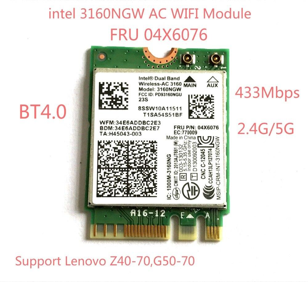 Dual Band Wireless AC 3160 Wifi Bluetooth NGFF  FRU 04X6076 For  G50-70 Z40-70 Intel 3160NGW 802.11ac Wifi+BT 4.0 Card