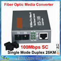 HTB-1100 Óptica Convertidor de Medios 10/100 Mbps RJ45 puerto Convertidor 25 KM Monomodo Dúplex de Fibra SC