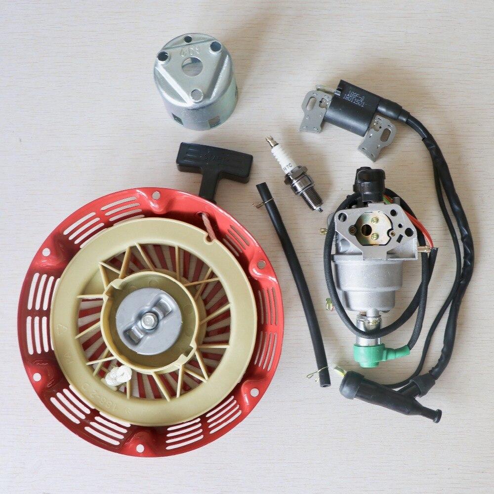 Bobine d'allumage + bougie d'allumage + carburateur carb + pièces de réparation de démarreur de recul adaptées pour Honda GX390 générateur de moteur chinois 188