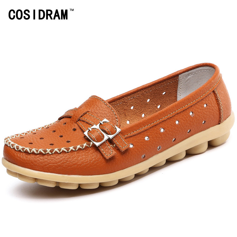 Genuine Leather Women Flats Shoes New 2016 Slip On Woman Fashion Loafers Brand Designer Sapato ...