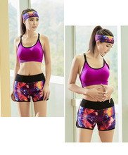 Yoga new fitness cycling jerseys three-piece suits summer Sports bras running shorts hot pants hair band