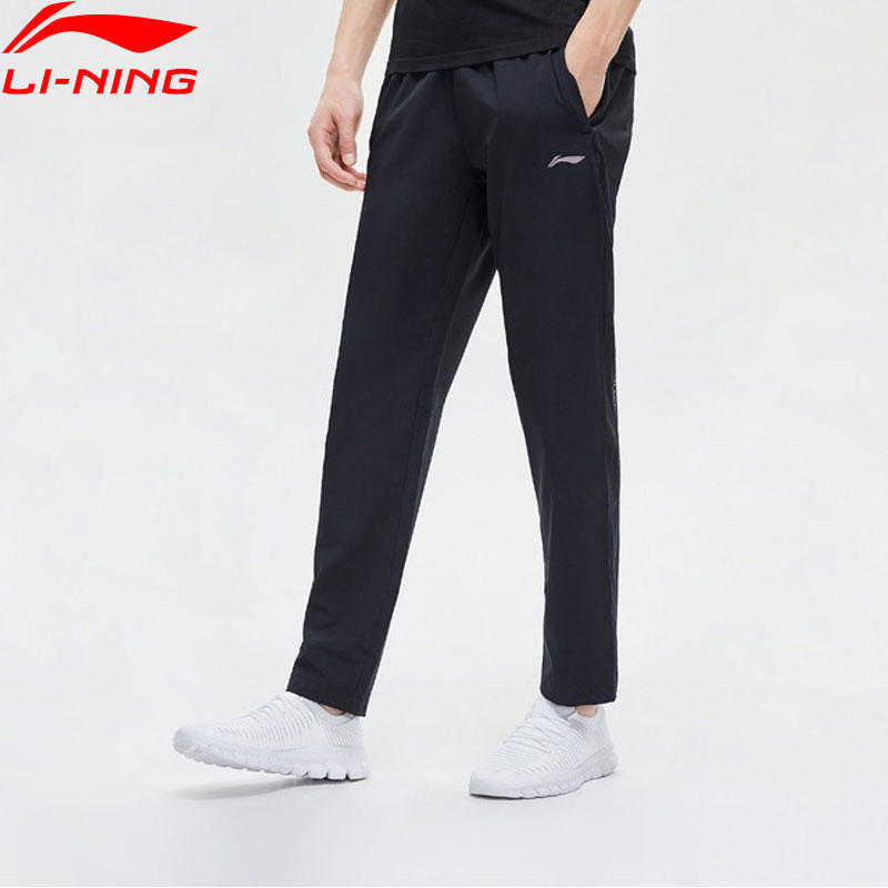 Li Ning Men Training Series Pants Regular Fit 90 Polyester 10 Spandex LiNing Comfort Sports Straight