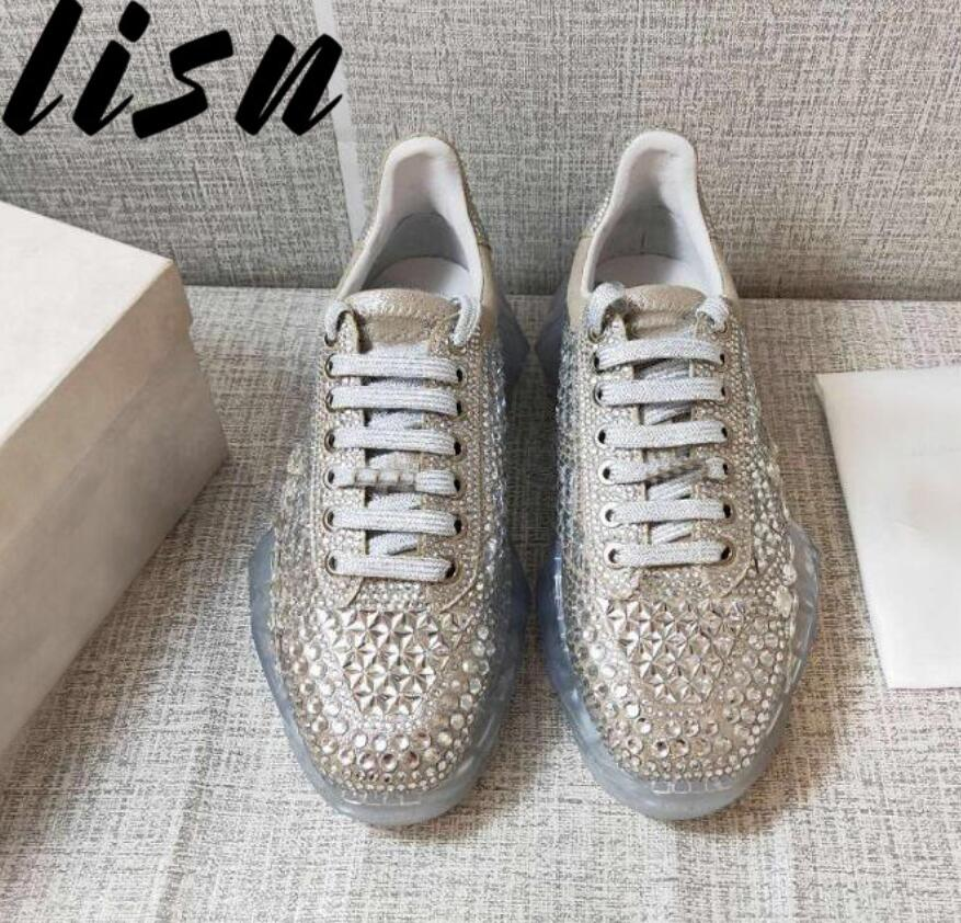 LISN New Spring Summer Genuine Leather Crystal Beading Women Casual Shoes Gladiator Lace Up Party Women ShoesLISN New Spring Summer Genuine Leather Crystal Beading Women Casual Shoes Gladiator Lace Up Party Women Shoes