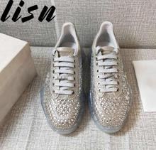 LISN New Spring Summer Genuine Leather Crystal Beading Women Casual Shoes Gladiator Lace Up Party