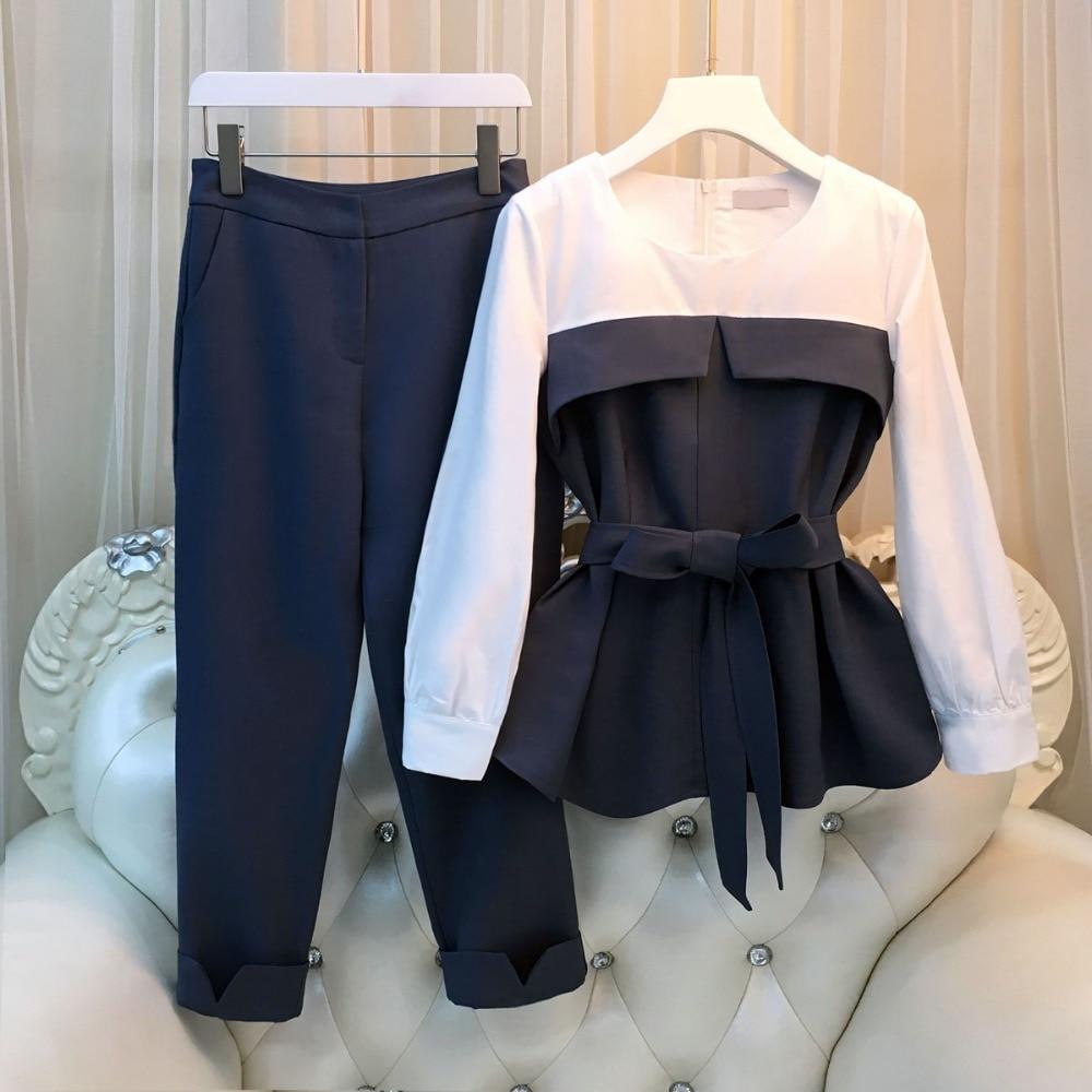 Модный весенний женский комплект из 2 предметов, блузка с длинными рукавами, топы и брюки, повседневный офисный костюм с брюками для девушек,...