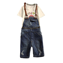 2018 New Mens Distressed Short Jeans Ripped Jumpsuit Denim Overalls Men Cargo Pants with Suspenders Denim Bib Overalls for Men bib pants fashion brand jeans denim overalls outdoor casual bib jeans men ripped jeans for men fashion designer denim trousers
