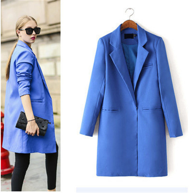 Autumn new Ms. long section of small suit version of Slim was thin casual suit jacket female influx 3 color of a button