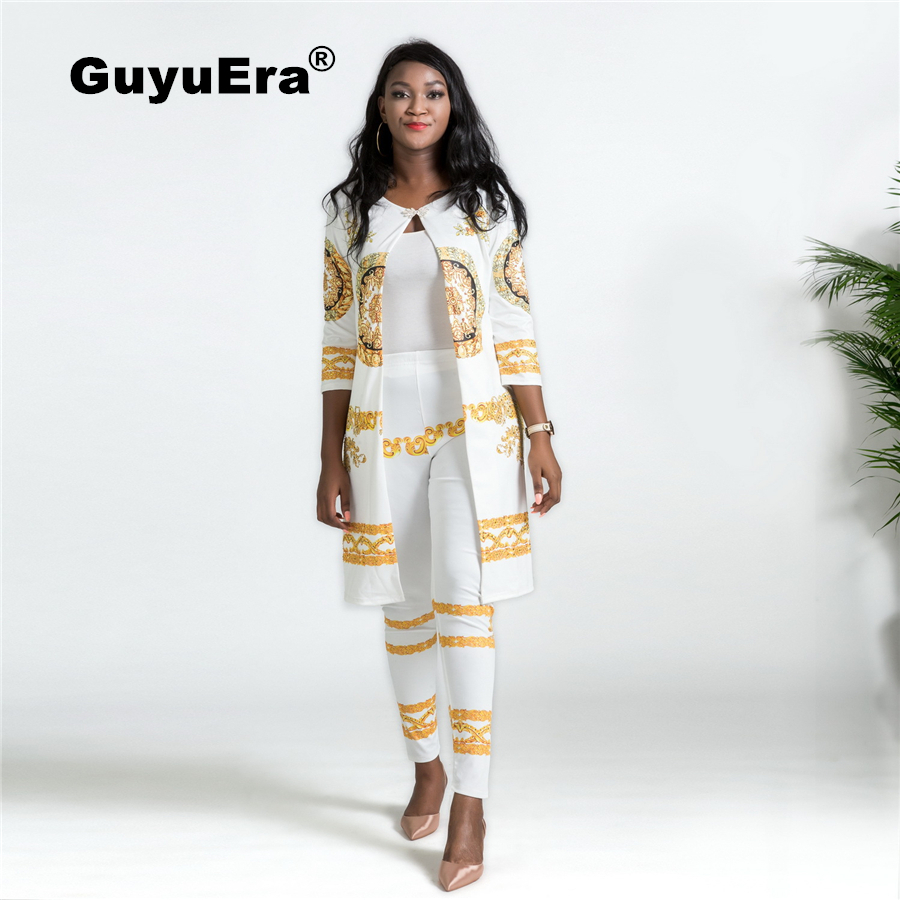 GuyuEra Hot Sale Africa Dress For Women New Print Set Royal Fashion Trend Seven-point Sleeve Temperament Pants Two-piece