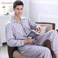 2016 мужской Пижамы Осень С Длинным Рукавом Пижамы Пижамы Хлопка Плед Мужчин Pijama Мужчины Lounge Pajama Наборы Плюс размер Ночное Белье 4XL