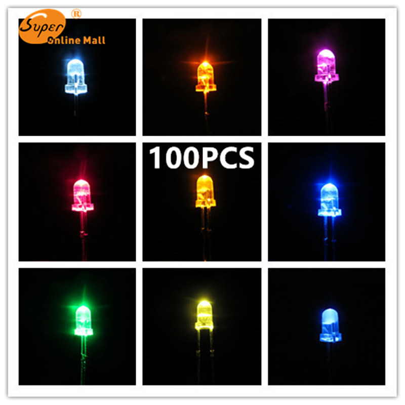 100pcs LED 5mm Urtal Bright Light Bulb Led Lamp Electronic Components 20000 MCD 5MM LED Emitting Diodes  Lots