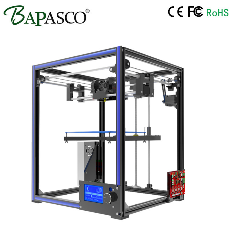 Upgarded Aluminium cube 3D Printer Kits BAPASCO X5 Full Metal Extrusion high precision 12864P LCD big printing size 210*210*280 55ml aluminium sub tank printer part