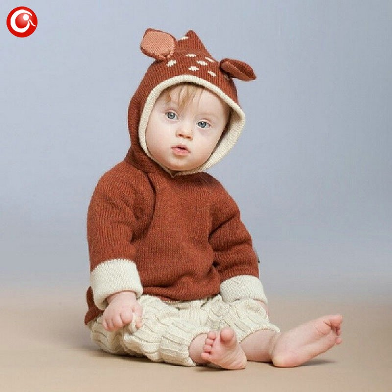 12M-4Y Baby Girls Christmas Deer Costume Cardigan Toddler Kids Boys Dot Animal Knitted Crochet Sweater Outwear Clothing 2016 (2)