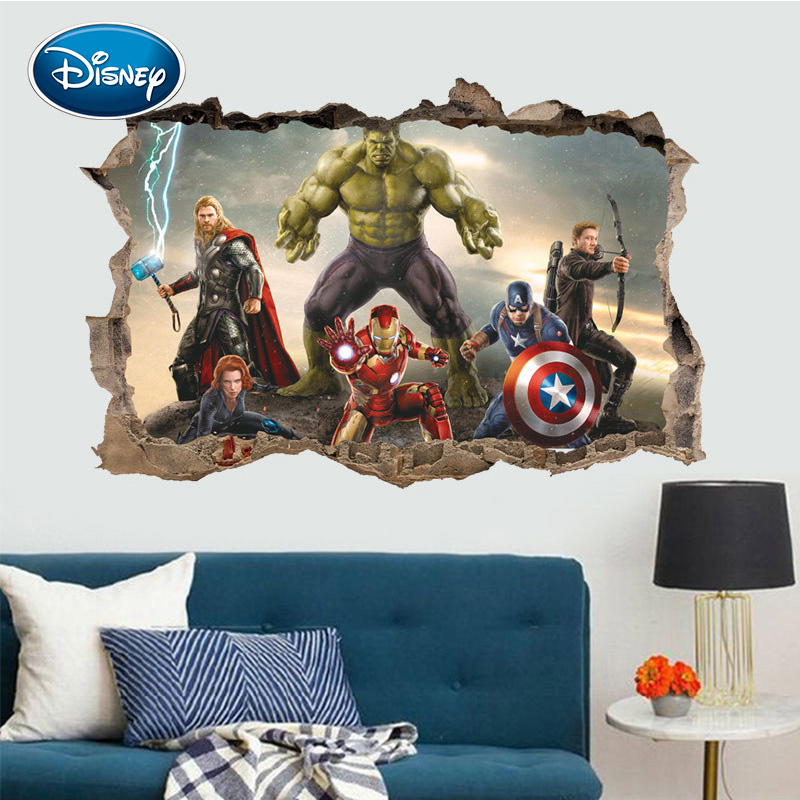 Disney Kids Sticker Cartoon 3d The Avengers DIY Sticker Toy For Children Bedroom Decoration Cute Boy Stickers Autocollant Enfant