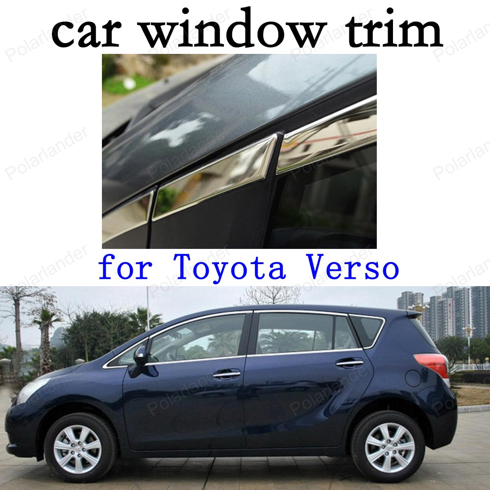 car stying Car Exterior Accessories Decoration Strips Stainless Steel Window Trim for Toyota Verso stainless steel full window with center pillar decoration trim car accessories for hyundai ix35 2013 2014 2015 24