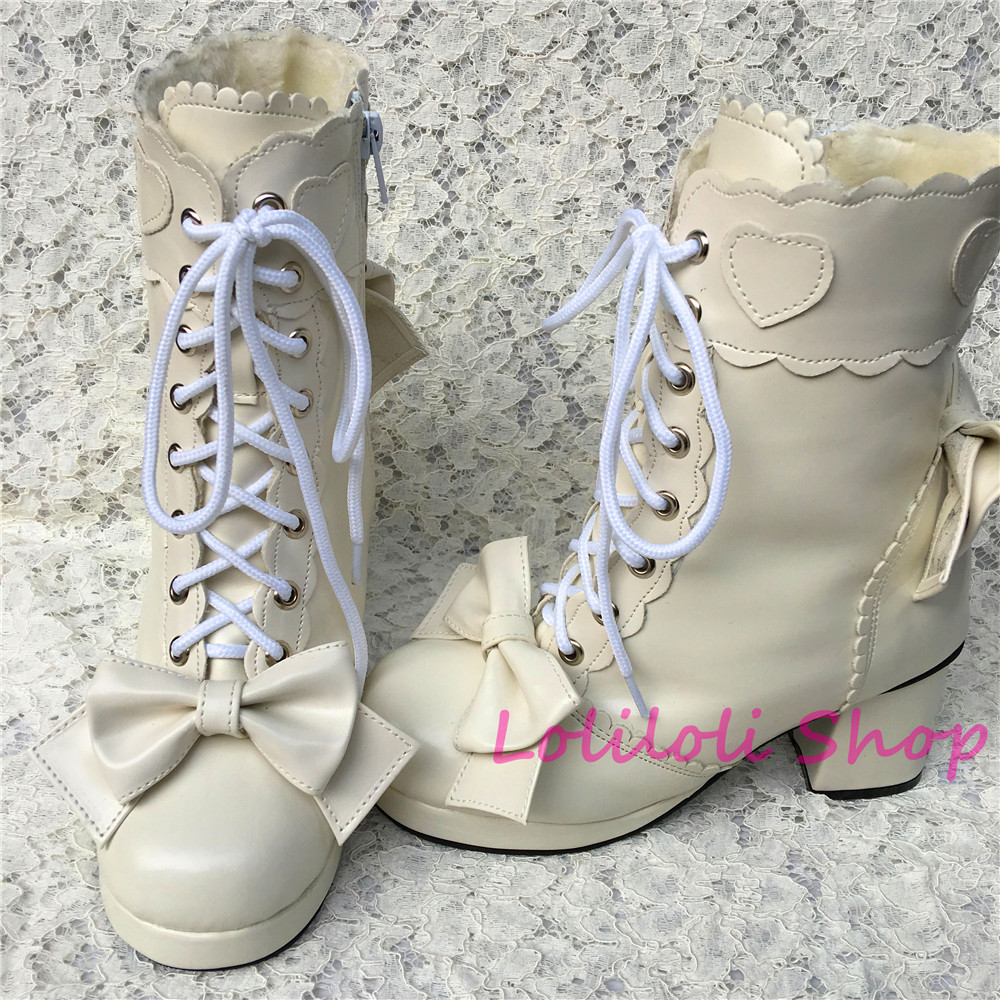 Princess sweet lolita shoes Lolilloliyoyo antaina Japanese design custom thick bottom white high-topped boots with bow 9008 sweet girl s sandals with bow and velcro design