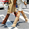 Brand Shark Lock Women Zapatos Mujer Height Increasing Wedge Boots Pointy Toe Fold Over Celebrity Mid