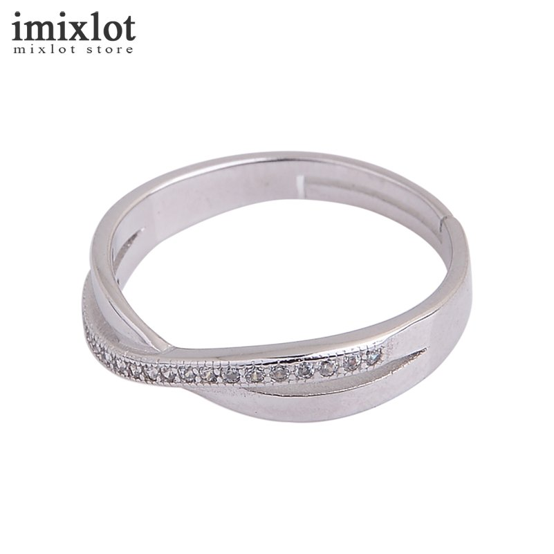 Imixlot Simple Silver Cross Rings for Women Engagement Wedding Finger Rings Fashion Jewelry