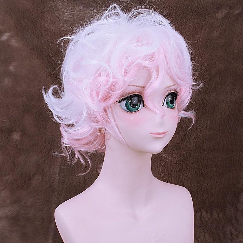 Danganronpa Komaeda Nagito Short Curly Wavy Cosplay Wig for Man Boys 30cm 13 Heat Resistant Synthetic Hair White Pink Gradient