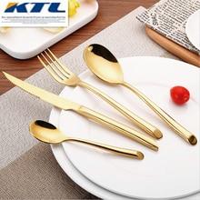 KTL 24 Pcs/Set Black Dinnerware Set 304 Stainless Steel Golden Dinner  Knives Forks Scoops Teaspoons Cutlery Set Tableware Gift