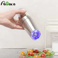 Automatic Electric Pepper Mill Grinder LED Light Salt Pepper Grinding Bottle Automatic Spice Mills Kitchen Seasoning Grind Tool
