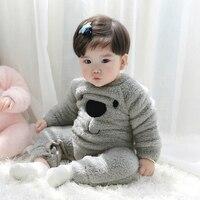 Winter Fleece Baby Rompers Kawaii Bear Pattern Warm Soft Newborn Boy Girl Baby Pajamas Comfort Baby