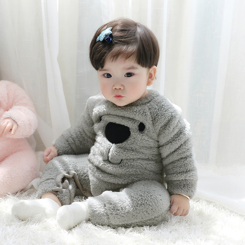 Winter Fleece Baby   Rompers   Kawaii Bear Pattern Warm Soft Newborn Boy Girl Baby Pajamas Comfort Baby   Romper   Jumpsuit Clothes D15