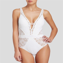 Bikini 2018 sexy women swimwear hot sale Conjoined hollow out pure color black white sexy  swimwear