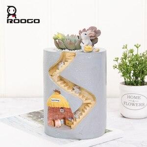 Image 2 - Roogo Resin Home Garden Flower Pot Succulent Planter Pots Outdoor Flowerpot For Balcony Decoration Home Desktop Pen Holder Decor