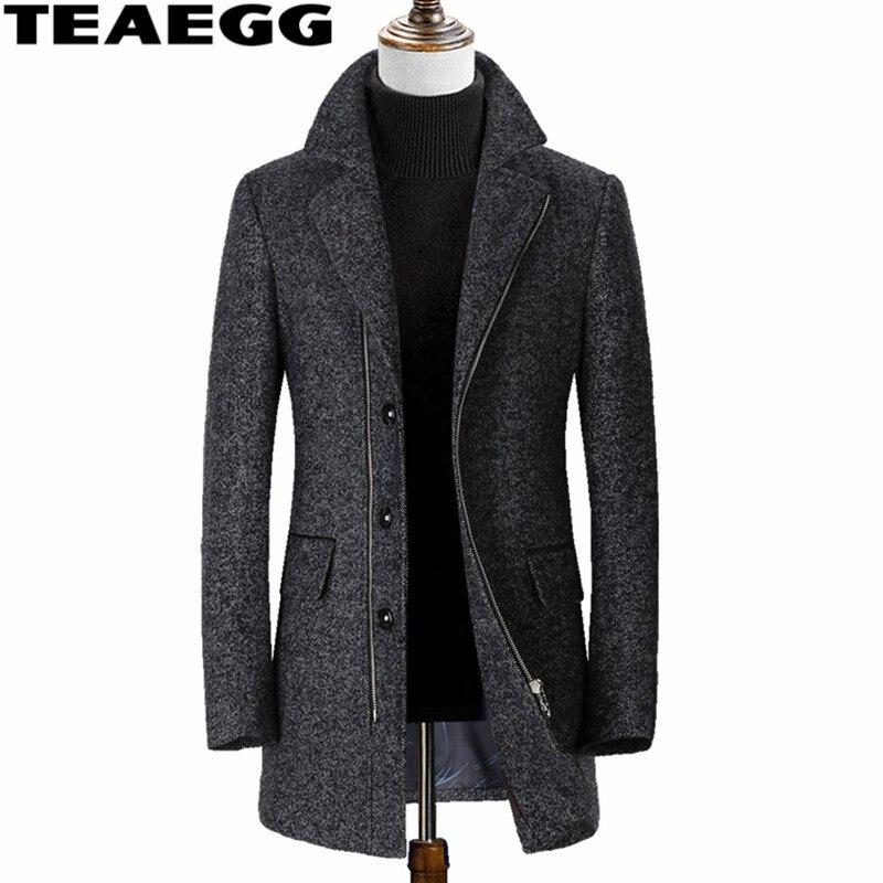 TEAEGG mi-long gris hiver laine manteau hommes vêtements Casaco Masculino hommes laine veste pardessus Abrigo Hombre Invierno AL574
