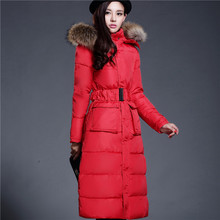 Women long coat with fur collar Lady Slim Fit x-long Style Thick Warm Jackets Flower Quilted Coat Bleted parks Outerwears