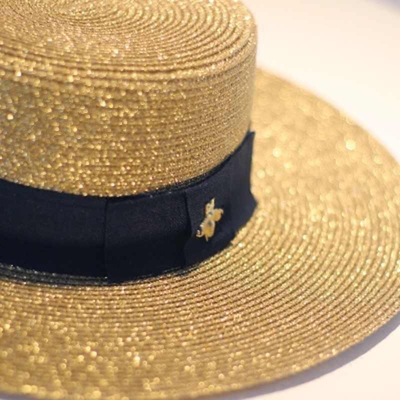 Spring Summer Hat for Women Retro Gold Braided Flat Beach Straw Hat Lady Wide Brimmed Sun Shade Sunscreen Girl Panama Visor Hat