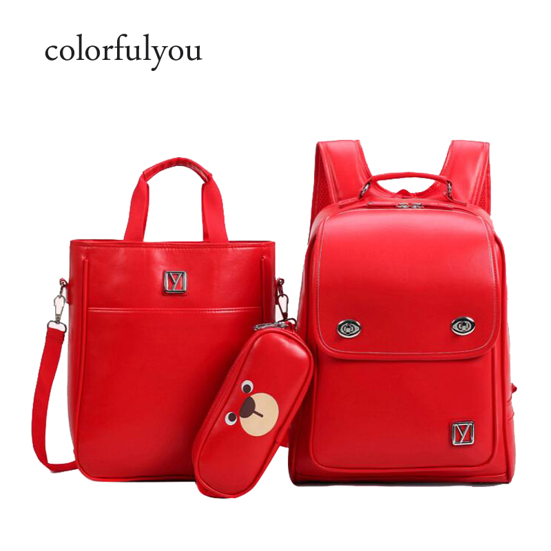 Cartoon Bear Backpack For Women 3pcs/set School Backpacks Girls And Boys Satchel Waterproof PU School Bags For Teenager 2019 NEW