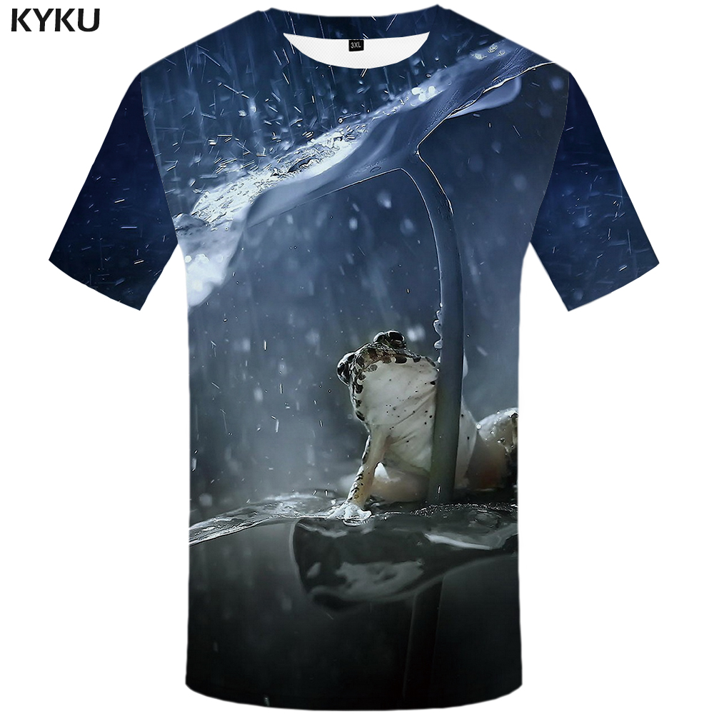 Funny T shirts <font><b>Frog</b></font> T shirt Men Animal Shirt Print Leaf T-shirts 3d Water Anime Clothes Harajuku <font><b>Tshirt</b></font> Printed Mens Clothing image