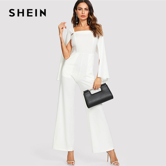 0710414210 SHEIN White Elegant Cloak Long Sleeve Wide Leg Square Neck Pocket Solid  Maxi Jumpsuit Summer Women Weekend Casual Jumpsuit