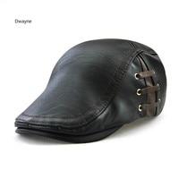 2017 High Quality Bandage Men PU Beret Cap Fashion European Black Coffee Male Beret Hat Spring