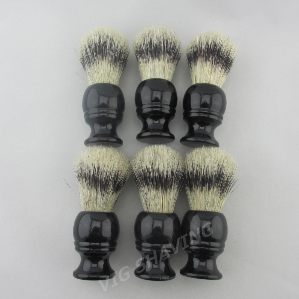 6pcs/lot Black wood handle  22mm knot Faux badger color Boar bristle shaving brush