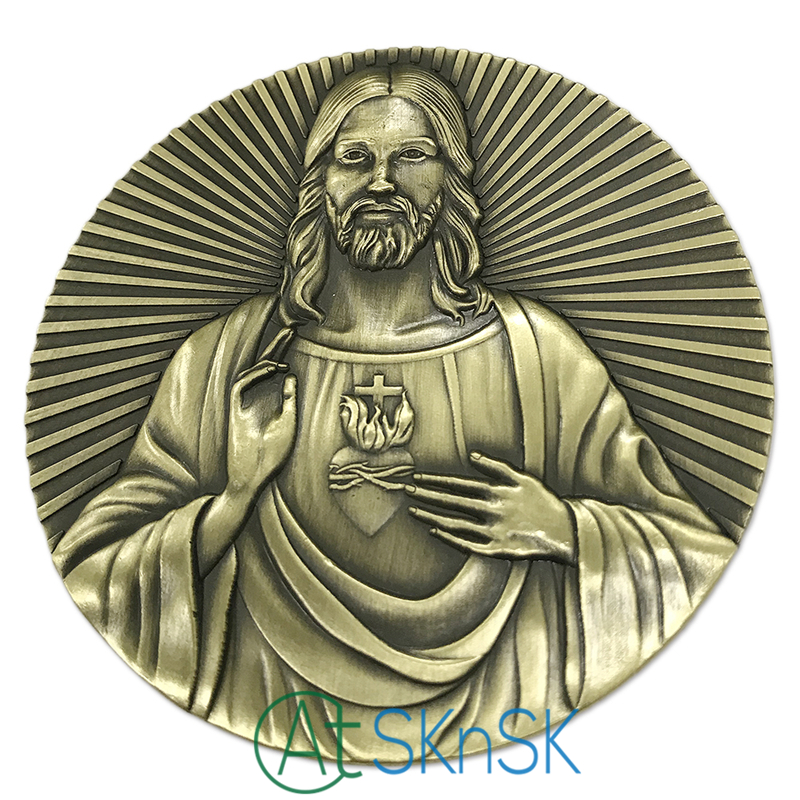 Latest Big Medals Biblical Series Religious Metal Crafts For Gift Antique Bronze Plated Engraved Jesus Last Supper Medals Coins