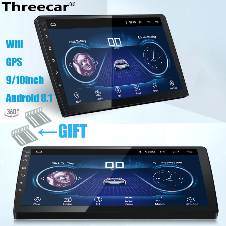 Freeauto Android 9.0 Autoradio GPS 2 DIN Ecran 7 Pouce Supporte Bluetooth 3G WiFi USB SD RDS Radio Commande au Volant