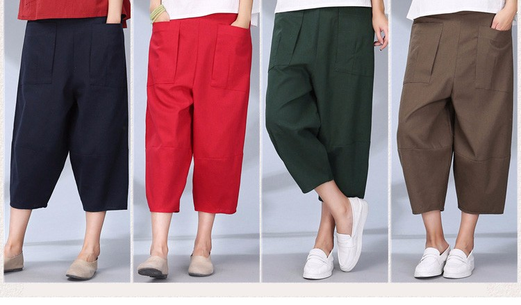 women calf length linen pants wide leg pants elastic waist sport pants casual loose solid trousers for women plus size L-2XL A10 f