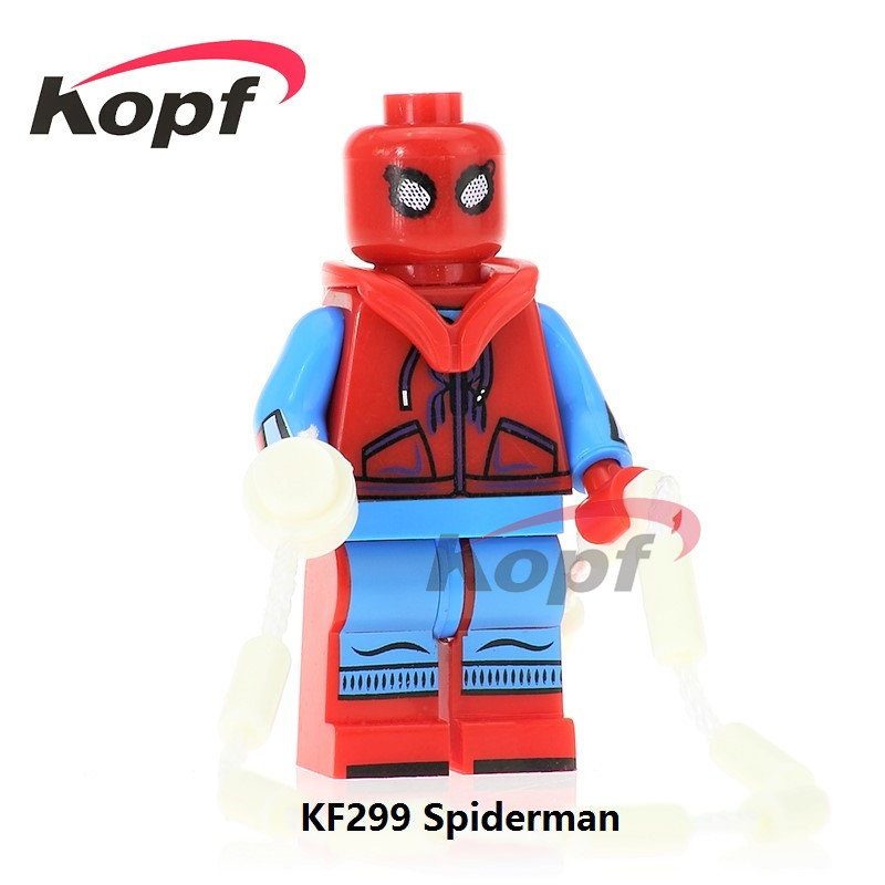 Single Sale Homecoming Homemade Suit Spiderman Spider-man Spider Man Building Blocks Super Heroes Bricks Toys for children KF299