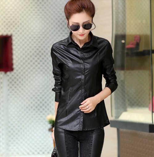 Women Blouses 2019 Spring New Shirt Temperament Slim Thin Long-sleeved Women Shirts PU Leather Shirt Big Size Women Tops DM2365