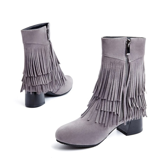 45a2014a9cf Hot sale Big size 34-43 Women Short tube boots Sexy high-heel Round Toe  Spring Autumn Winter Casual shoes High-quality DL6-17
