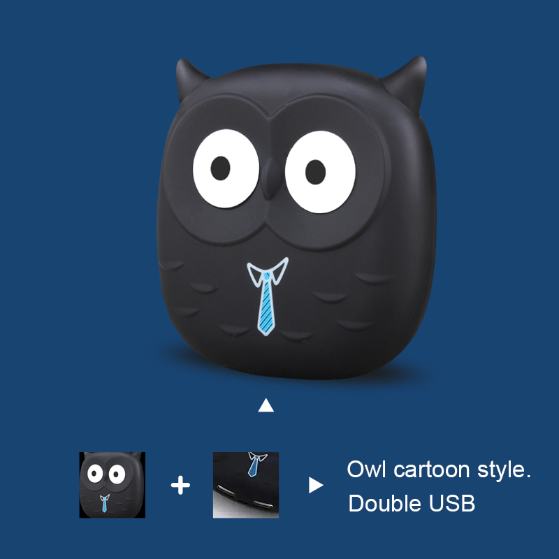 Цена за Портативный 18650 Мощность Bank 5000 мАч Батарея пакет с милой совой мультфильм мобильный Мощность банк Зарядное устройство USB внешний Батарея резервного копирования для телефоны