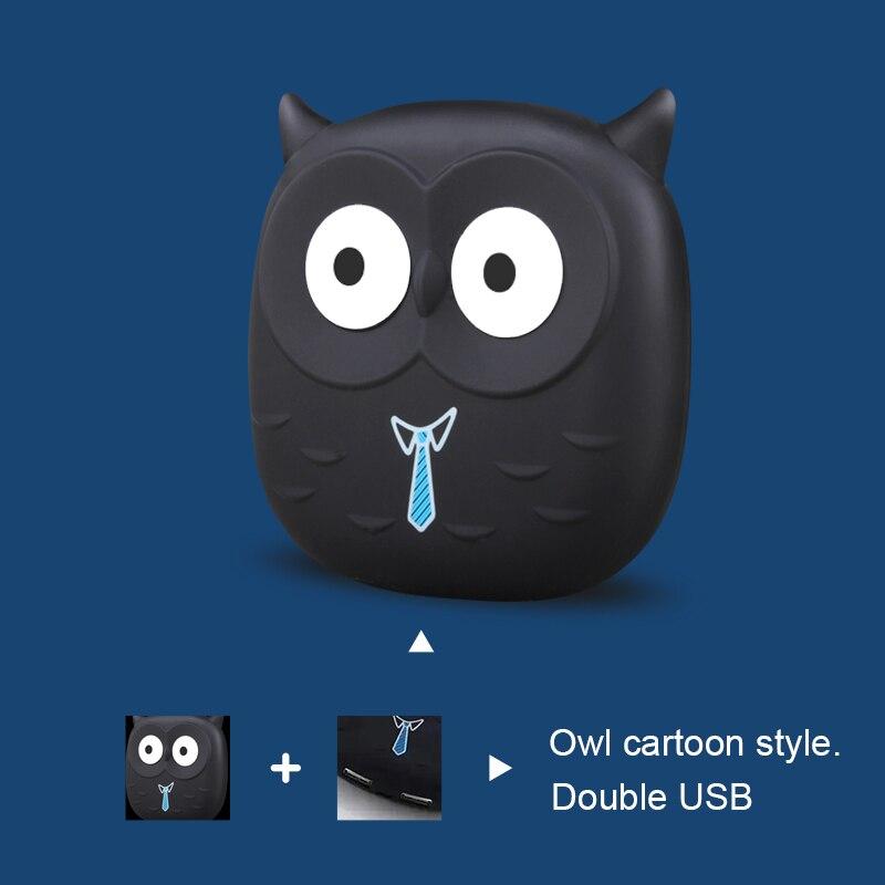 imágenes para Portátil 18650 banco de la Energía 5000 mAh Powerbank Móvil Cargador de Batería Lindo Búho de la Historieta USB Batería de Reserva Externa Para Los Teléfonos