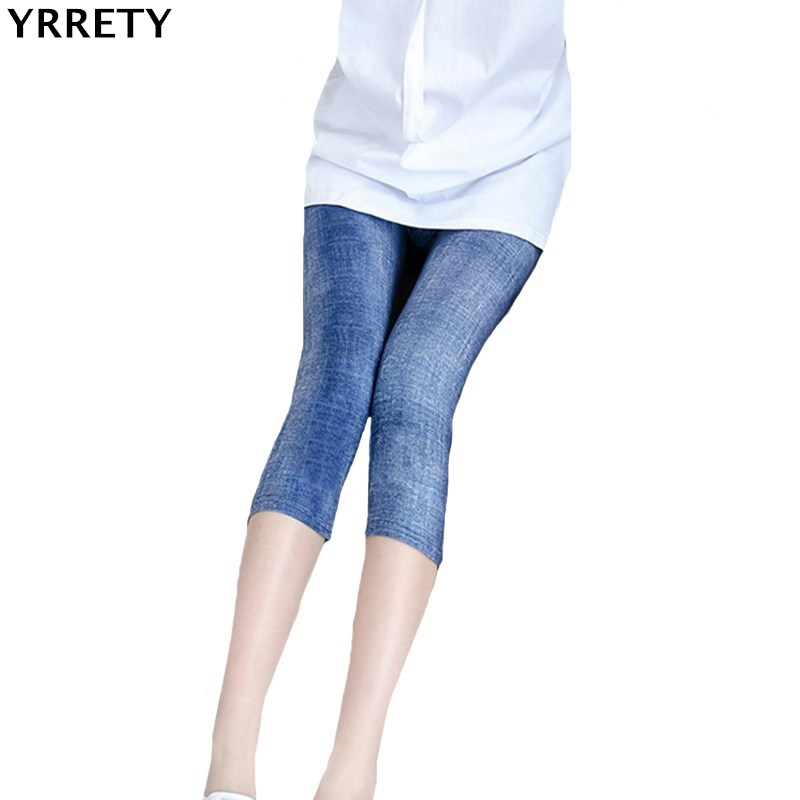 YRRETY Fashion Slim Women   Leggings   Faux Denim Jeans   Leggings   Sexy Printing Summer   Leggings   Casual Pencil Pants Women Clothing