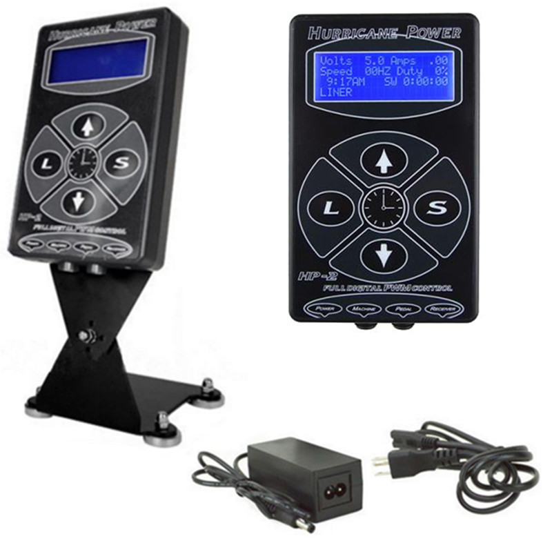 Pro Digital Dual Black Hurricane HP-2 Tattoo Machine Power Supply LCD Display Tattoo Power Supply -- TPN-012