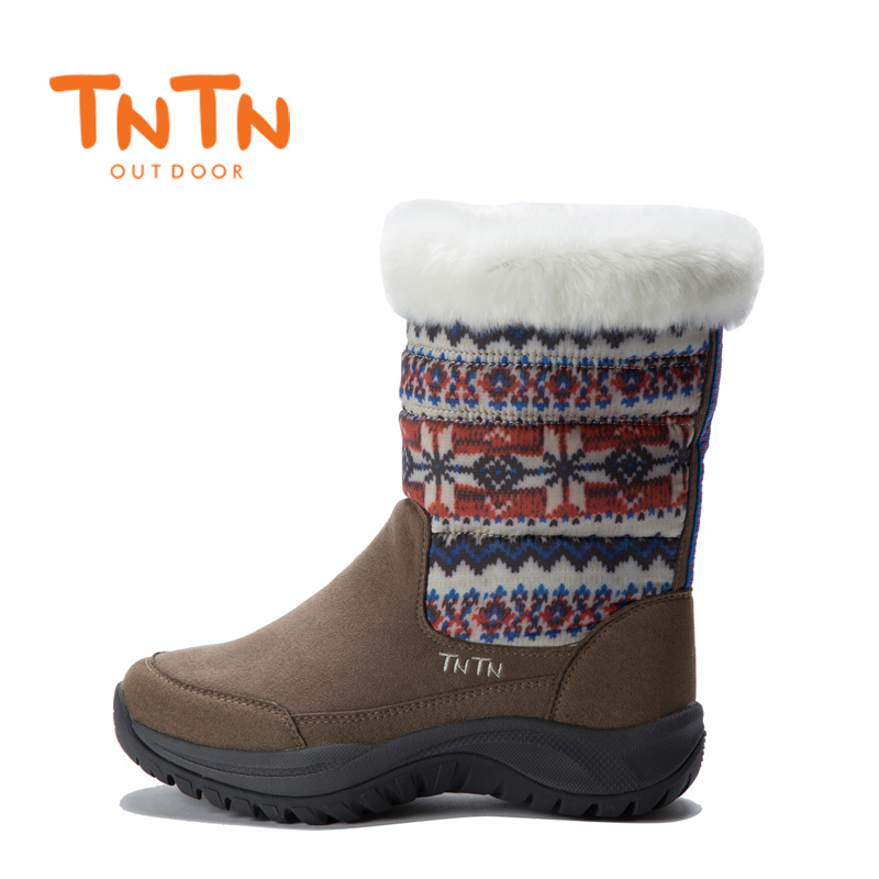 TNTN outdoor winter new warm waterproof leather non-slip down jacket snow boots